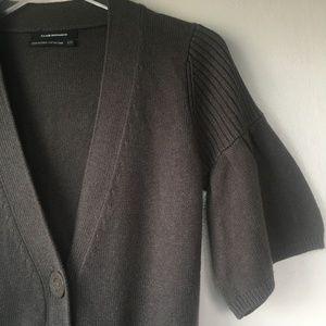 CLUB MONACO Taupe Ruffle Cotton Cashmere Cardigan